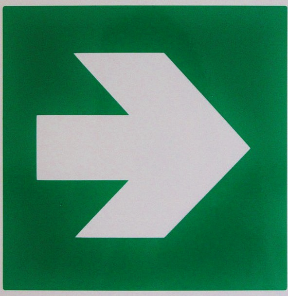 Output Production Green Lime Direction Sign
