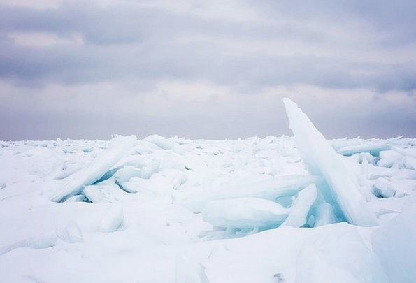 Lake Huron Ice-covered Ice Frost Frozen Blue Azure