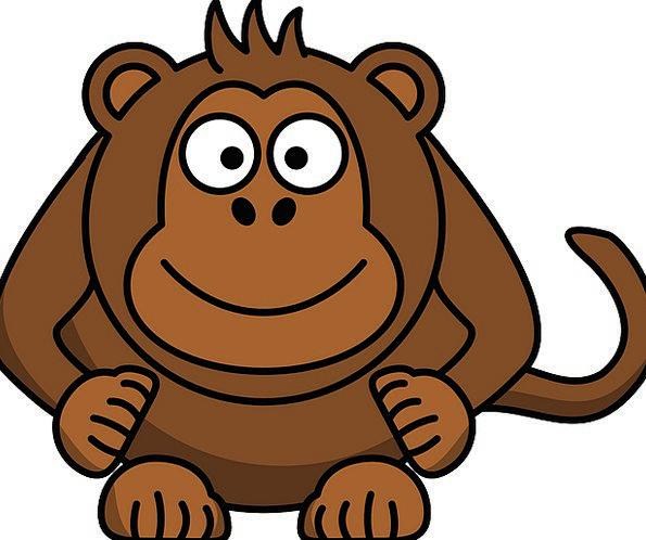 Monkey Ape Skull Laughing Smiling Head Sitting Sed