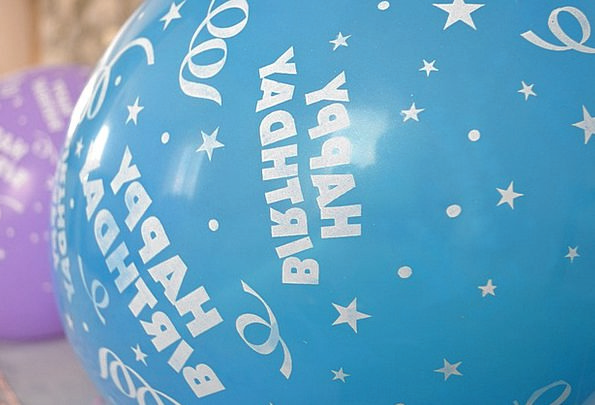 Happy Birthday Inflatables Blue Azure Balloons Pin
