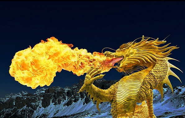 Dragon Golden Dragon Fire Breathing Broncefigur Th