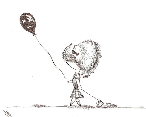 Girl Lassie Gait Balloon Inflatable Walk Ink Drawi