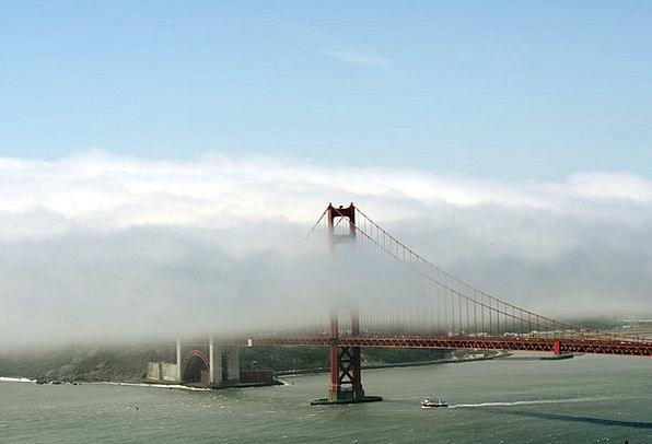 Bridge Bond Monuments Places Fog Mist Golden Gate