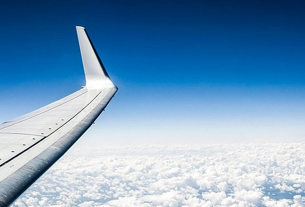 The Plane Annex Clouds Vapors Wing Sky Blue The He