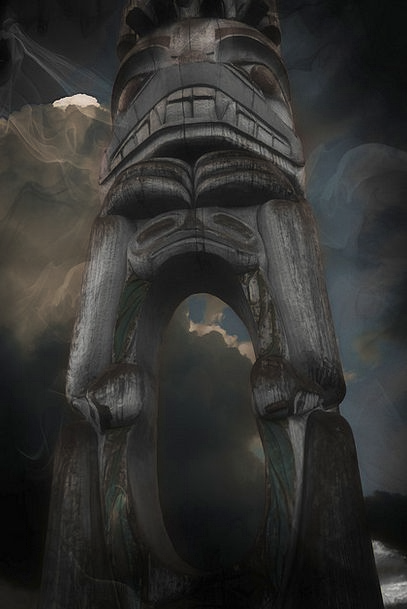 Totem Pole Grime Wooden Pole Grunge Culture Native
