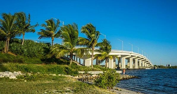 Marco Island Bridge Bond Florida Palm Trees Gulf C
