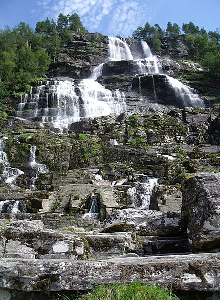 Waterfall Cascade Rocks Moss Boulders Norway Water