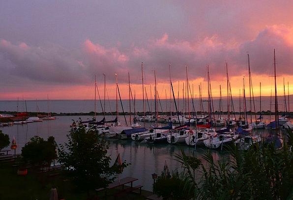 Lake Balaton Vacation Sundown Travel Boats Ships S