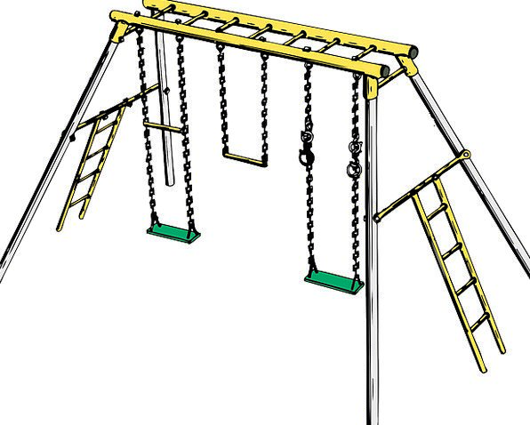Swing Set Park Toys Dolls Playground Cartoon Kids