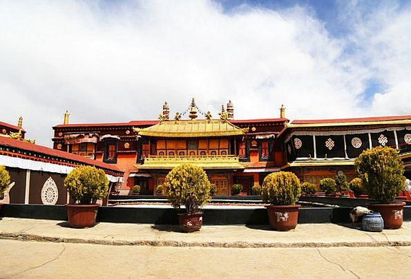 Jokhang Temple Tibet Lhasa Blue Sky Building The M