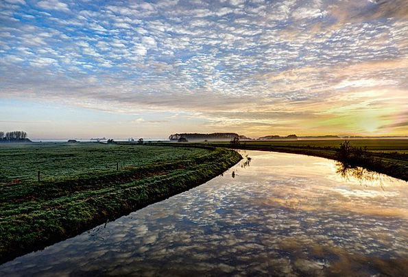 Meadows Fields Landscapes Stream Nature Sunrise Da