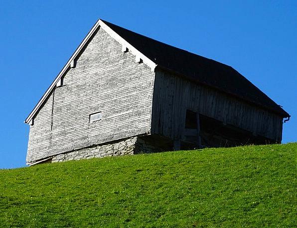 Wood Barn Green Meadow Mountain Barn Berghäuser Al