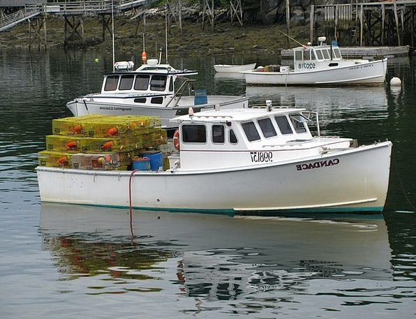 Lobster Boat Boat Ship Maine Usa Lobster Traps Lob