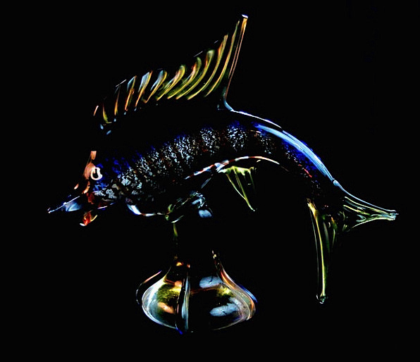 Fish Angle Souvenir Keepsake Venetian Glass Chotsk