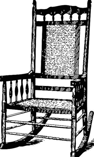 Rocking Chair Fan Drawing Sketch Rocker Vintage Ou
