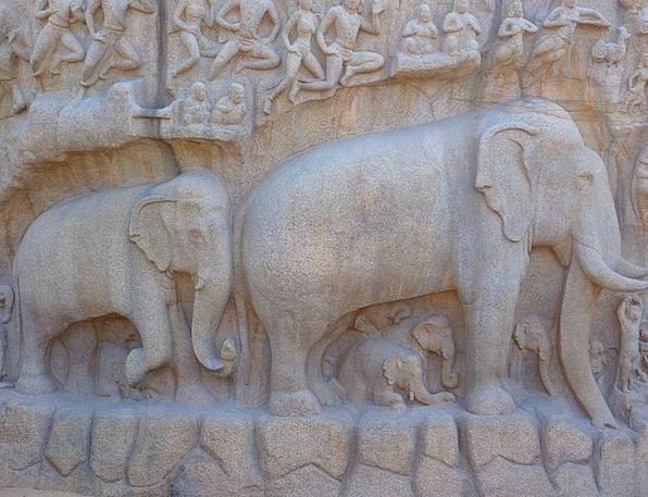 Elephant Monster Respite Descent Of The Ganga Reli