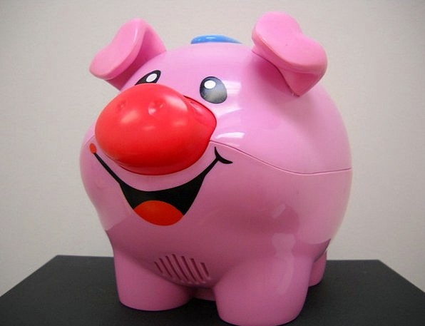 Pink Flushed Glutton Toy Doll Pig Smiling Amused C