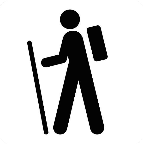 Walking Mountaineering Man Gentleman Hiking Pictog