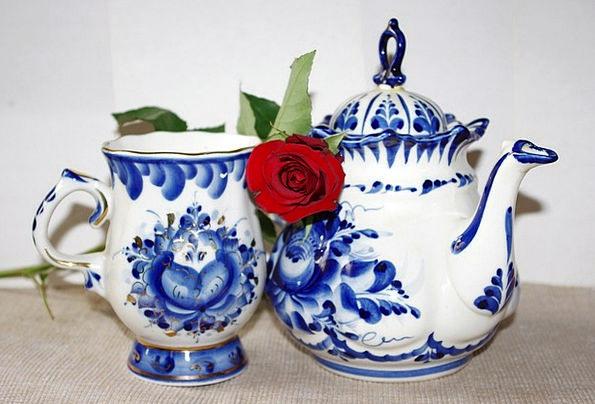 Porcelain China Rose Design Gzhel Maker Creator Cu
