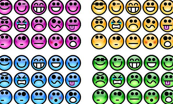Emotions Colours Smileys Feelings Spirits Blue Cha