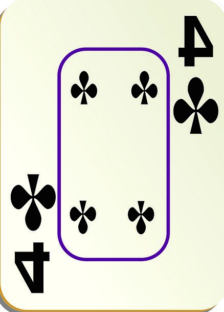 Four Bats 4 Clubs Game Playing Cards Border Card G