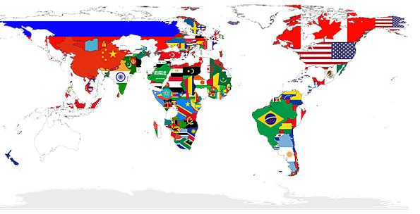 World Biosphere Chart Countries Republics Map Flags Streamers