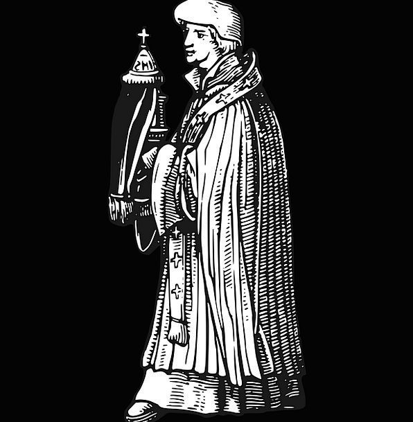 Priest Minister Wood Engraving Middle Ages Sacrame