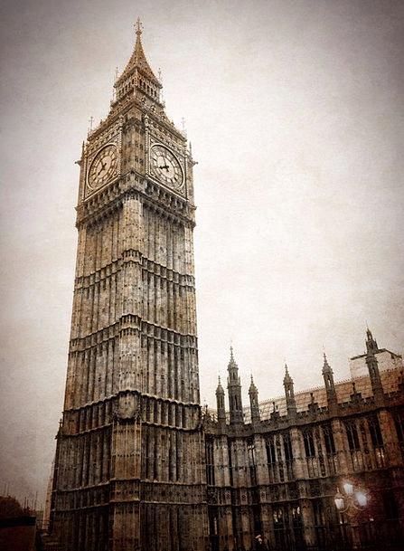 Big Ben Clock Timepiece London Grunge Grime Vintag