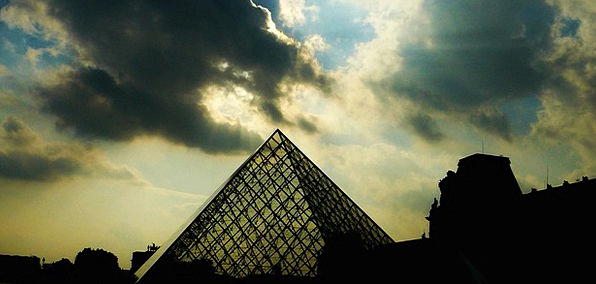 Paris Buildings Architecture Louvre Pyramid Cloud