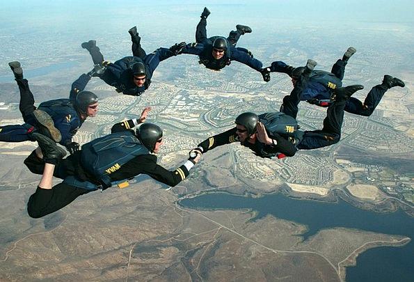 Skydivers Landscapes Blue Nature Clouds Vapors Sky
