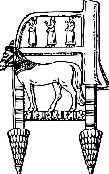 Furniture Equipment Mount Assyrian Horse Bronze Ch
