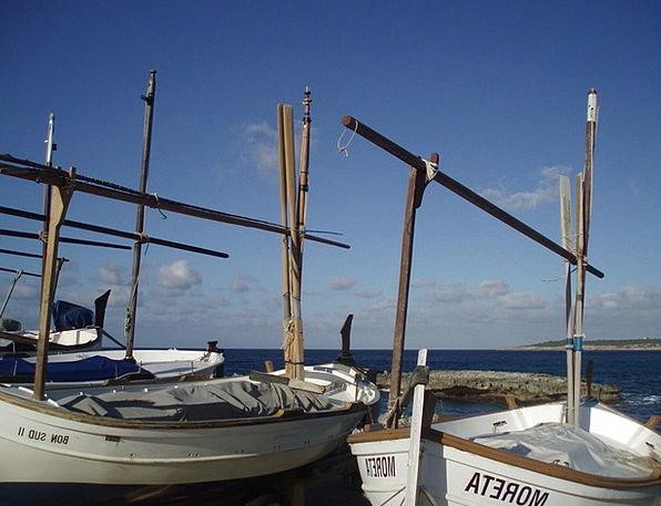 Fishing Boats Poles Boats Masts Marina Harbor Sea