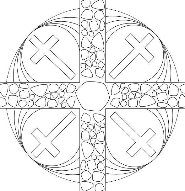 Cross Irritated Window Gap Christian Crucifixion P