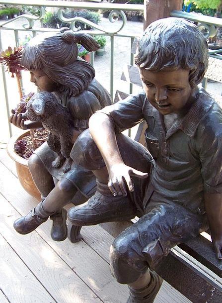 Statue Children Broods Bronze Metal Metallic Figur