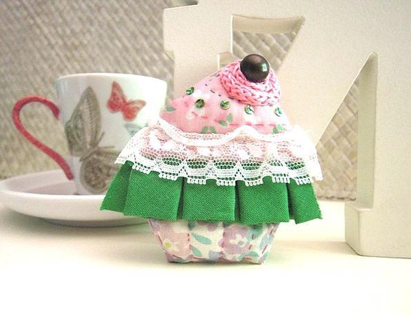 Cupcake Badge Fabric Cloth Brooch Sewing Stitching