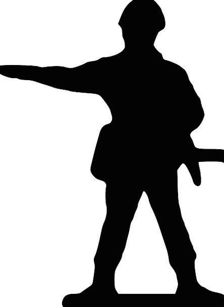Soldier Fighter Attitude Silhouette Outline Stand