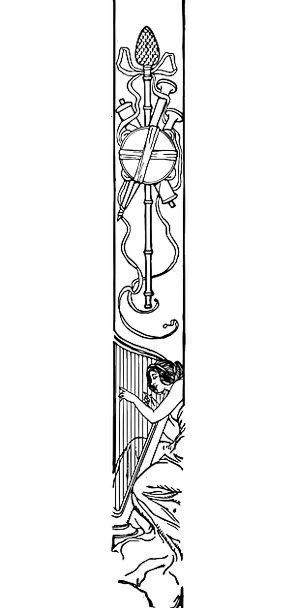 Art Nouveau Design Harp Decorative Art Playing The