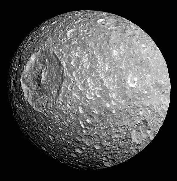 Moon Romanticize Mimas Saturn Space Interplanetary