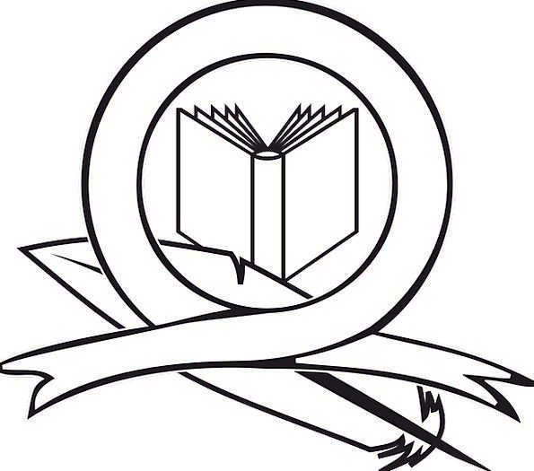 Book Volume Ribbon Band Logo School Feather Icon Education