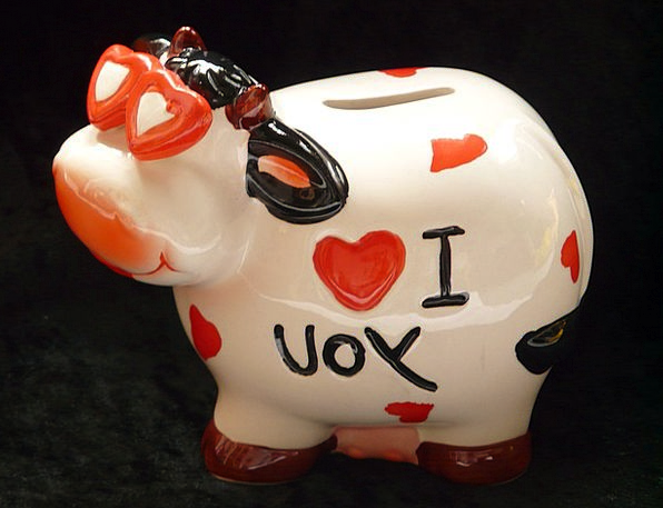 Piggy Bank Cow Intimidate Savings Bank Slot Heart