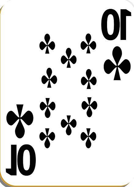 Playing Card Card Clubs Bats Ten Black Dark Suit H