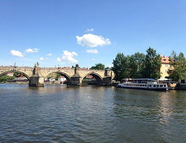 Vltava Steamer Prague River Stream Charles Bridge