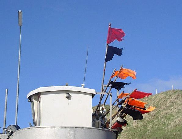 Fishing Boat Streamers Sky Blue Flags Dune Bank De