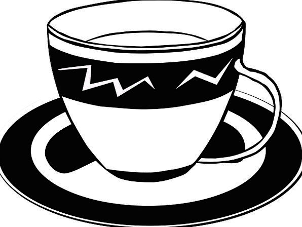 Tea Drink Mug Saucer Bowl Cup Black And White Stim