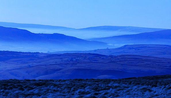 Blue Azure Landscapes Nature Foggy Unclear Fog Out