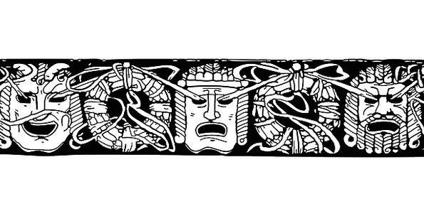 Inca Maya Aztecs Glyphs Faces Masks Free Vector Gr