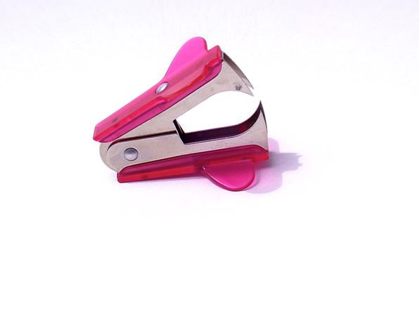 Staple Remover Flushed Office Workplace Pink Stati