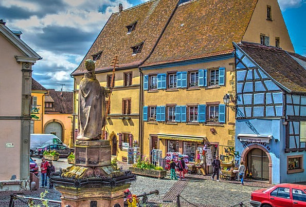 Equisheim France Alsace Old Town Colorful Church P