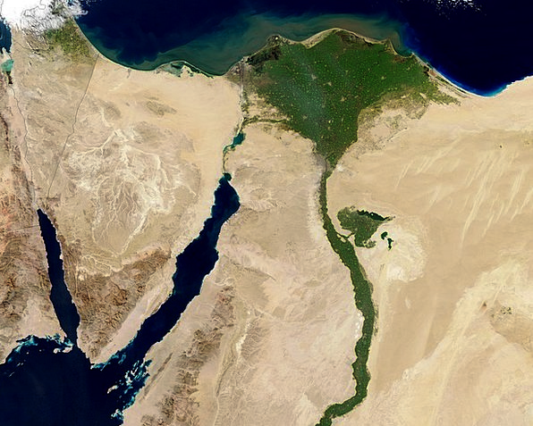 Egypt Aerial View Nile Land Terrestrial Map Atlas
