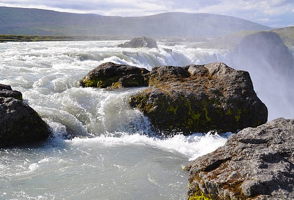 Iceland Landscapes Cascade Nature Godafoss Waterfa